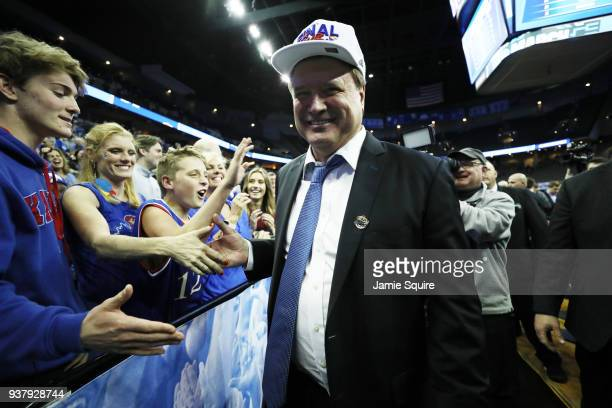 Head coach Bill Self of the Kansas Jayhawks walks off the court after his team defeated the Duke Blue Devils in the 2018 NCAA Men's Basketball...