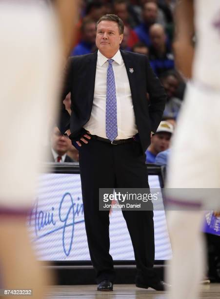 Head coach Bill Self of the Kansas Jayhawks watches as his team takes on the Kentucky Wildcats during the State Farm Champions Classic at the United...