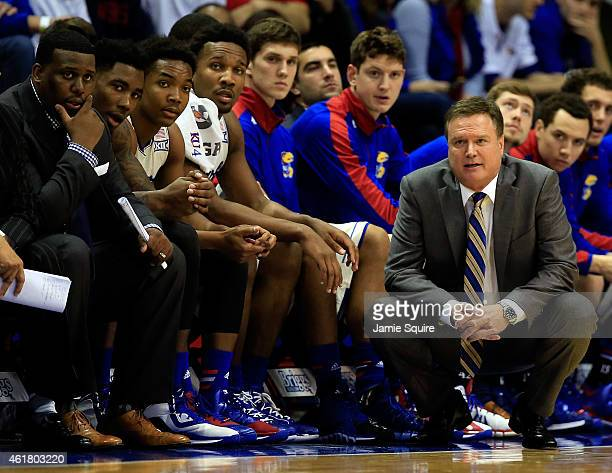 Head coach Bill Self of the Kansas Jayhawks watches from the bench during the game against the Oklahoma Sooners at Allen Fieldhouse on January 19...