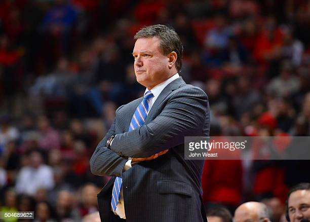 Head coach Bill Self of the Kansas Jayhawks watches his team during the game against the Texas Tech Red Raiders on January 09 2016 at United...
