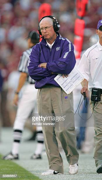 Head coach Bill Snyder of the Kansas State Wildcats looks on from the sidelines during the game against the Oklahoma Sooners on October 1 2005 at...