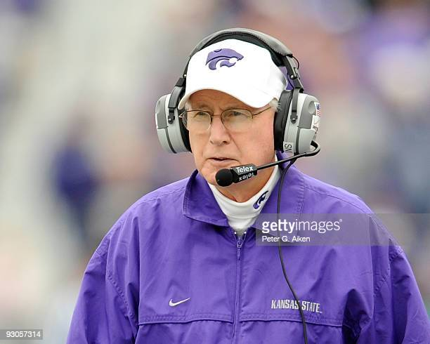 Head coach Bill Snyder of the Kansas State Wildcats looks out onto the field during a game against the Missouri Tigers on November 14 2009 at Bill...