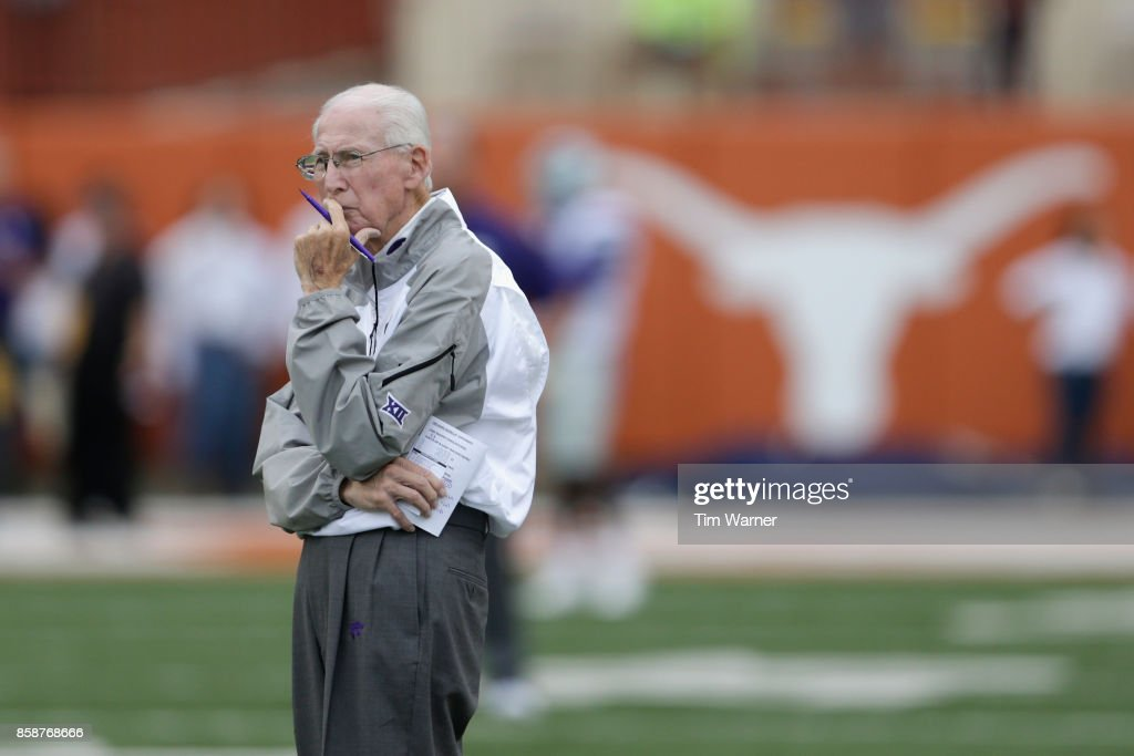 Head coach Bill Snyder of the Kansas State Wildcats watches players warm up before the game against the Texas Longhorns at Darrell K Royal-Texas Memorial Stadium on October 7, 2017 in Austin, Texas.
