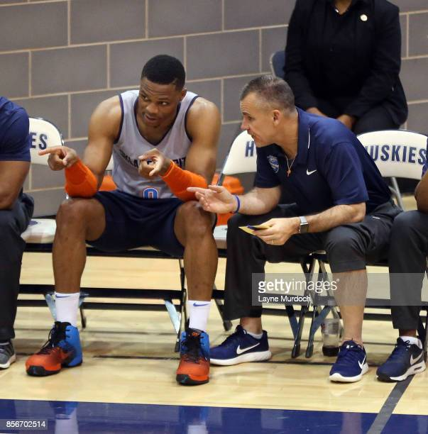 Head coach Billy Donovan and Russell Westbrook of the Oklahoma City Thunder and their team hold an open Blue/White scrimmage for fans on October 1...