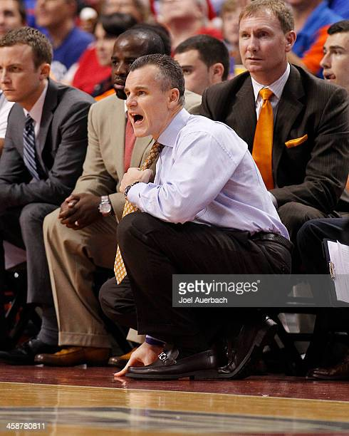 Head coach Billy Donovan of the Florida Gators calls to the players during second half action against the Fresno State Bulldogs during the MetroPCS...