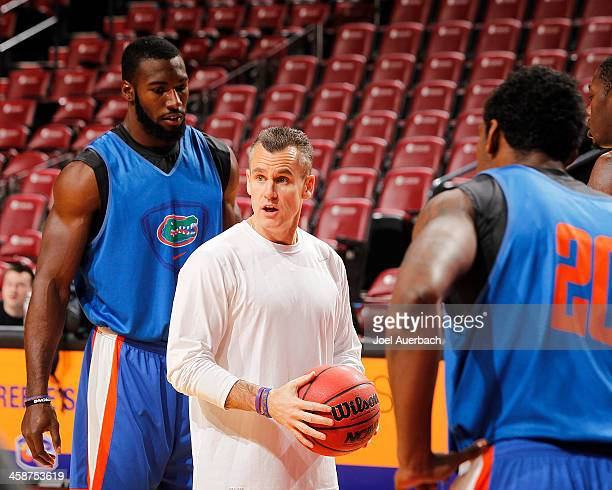 Head coach Billy Donovan of the Florida Gators directs the players during the shootaround prior to the game against the Fresno State Bulldogs during...