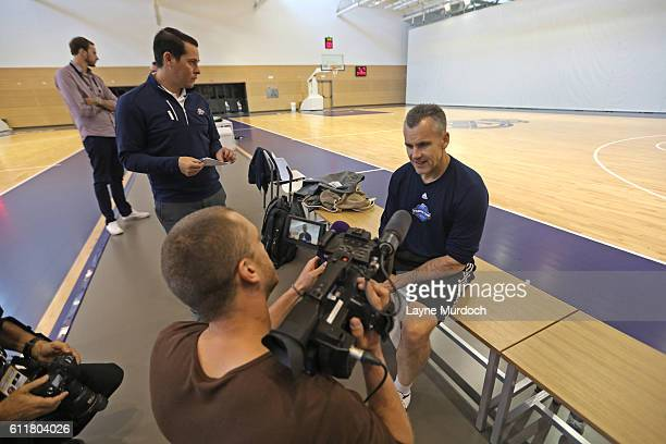 Head coach Billy Donovan of the Oklahoma City Thunder addresses the media during practice and media availability as part of the 2016 Global Games on...