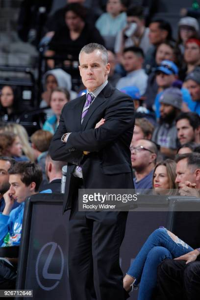 Head Coach Billy Donovan of the Oklahoma City Thunder coaches against the Sacramento Kings on February 22 2018 at Golden 1 Center in Sacramento...