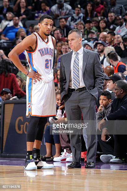 Head Coach Billy Donovan of the Oklahoma City Thunder coaches Andre Roberson against the Sacramento Kings on November 23 2016 at Golden 1 Center in...