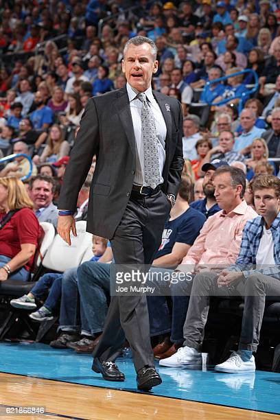 Head Coach Billy Donovan of the Oklahoma City Thunder coaches during the game against the Phoenix Suns on October 28 2016 at the Chesapeake Energy...