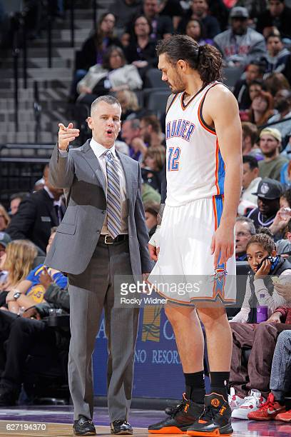 Head Coach Billy Donovan of the Oklahoma City Thunder coaches Steven Adams against the Sacramento Kings on November 23 2016 at Golden 1 Center in...