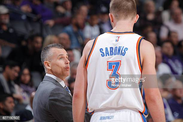 Head Coach Billy Donovan of the Oklahoma City Thunder coaches Domantas Sabonis against the Sacramento Kings on November 23 2016 at Golden 1 Center in...