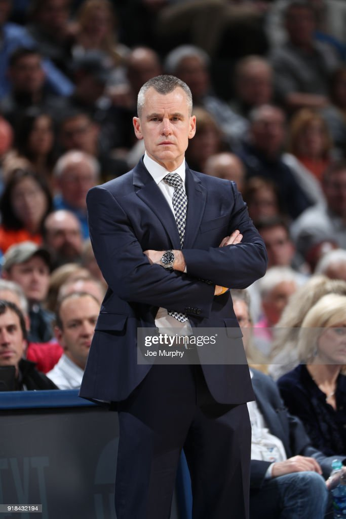Head Coach Billy Donovan of the Oklahoma City Thunder looks on during the game against the Cleveland Cavaliers on February 13, 2018 at Chesapeake Energy Arena in Oklahoma City, Oklahoma.