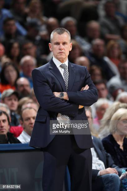 Head Coach Billy Donovan of the Oklahoma City Thunder looks on during the game against the Cleveland Cavaliers on February 13 2018 at Chesapeake...