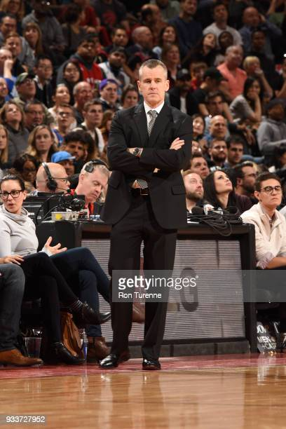 Head Coach Billy Donovan of the Oklahoma City Thunder looks on during the game against the Toronto Raptors on March 18 2018 at the Air Canada Centre...