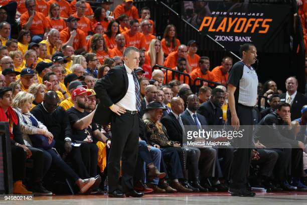 Head Coach Billy Donovan of the Oklahoma City Thunder looks on during the game against the Utah Jazz in Game Three of Round One of the 2018 NBA...