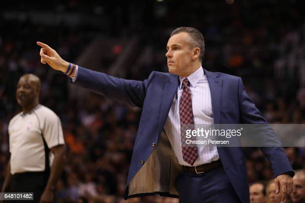 Head coach Billy Donovan of the Oklahoma City Thunder reacts during the second half of the NBA game against the Phoenix Suns at Talking Stick Resort...