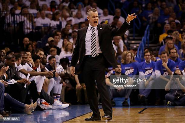 Head coach Billy Donovan of the Oklahoma City Thunder reacts in the fourth quarter against the Golden State Warriors in game three of the Western...