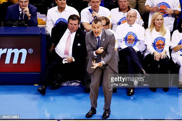 Head coach Billy Donovan of the Oklahoma City Thunder reacts in the second half against the Golden State Warriors in game four of the Western...