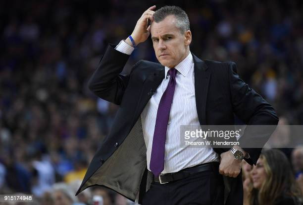 Head coach Billy Donovan of the Oklahoma City Thunder reacts to the play on the court during the second half of their NBA basketball game against the...