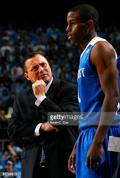 Head coach Billy Gillispie of the Kentucky Wildcats questions a foul by Darius Miller during the game against the North Carolina Tar Heels at the...