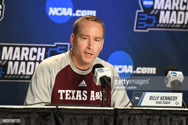 Head coach Billy Kennedy of the Texas AM Aggies addresses the media during media day of the Men's NCAA Basketball Tournament Charlotte Practice...