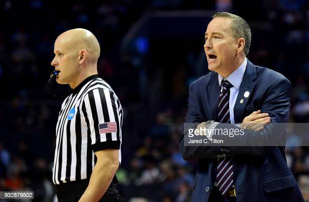 Head coach Billy Kennedy of the Texas AM Aggies calls to his team againt the Providence Friars during the first round of the 2018 NCAA Men's...