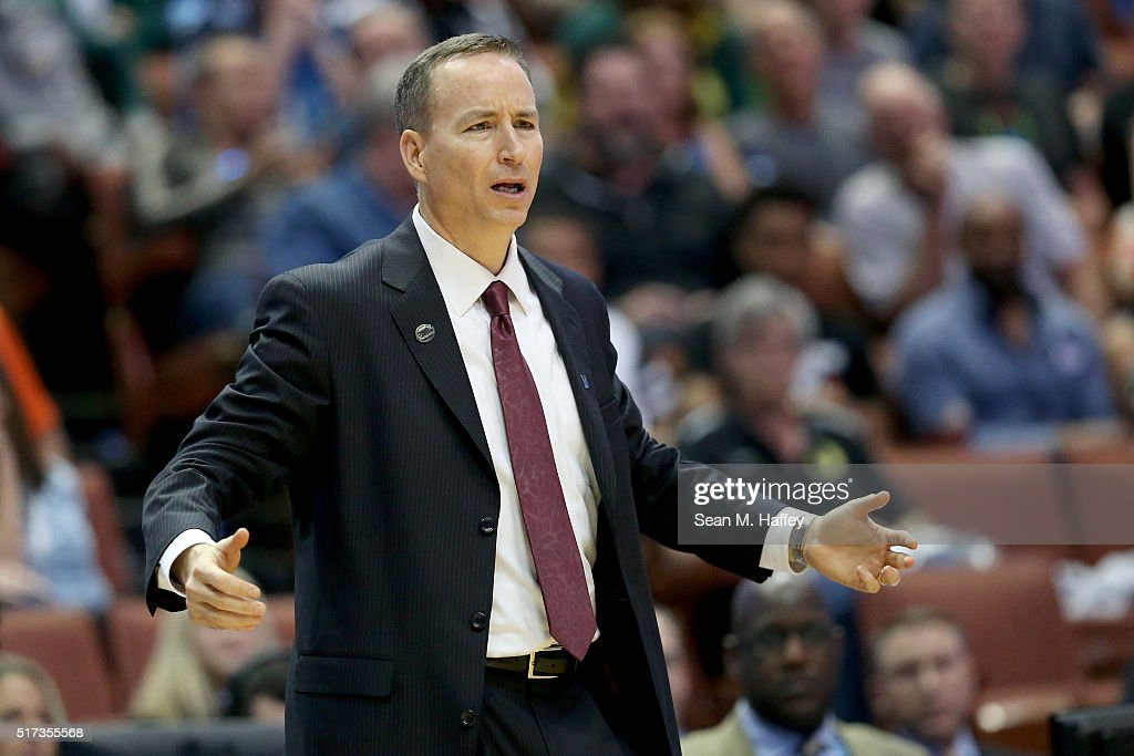 Head coach Billy Kennedy of the Texas A&M Aggies cheers on his team in the second half while taking on the Oklahoma Sooners in the 2016 NCAA Men's Basketball Tournament West Regional at the Honda Center on March 24, 2016 in Anaheim, California.