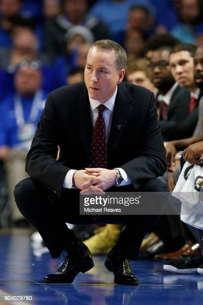 Head coach Billy Kennedy of the Texas AM Aggies looks on against the Kentucky Wildcats at Rupp Arena on January 9 2018 in Lexington Kentucky
