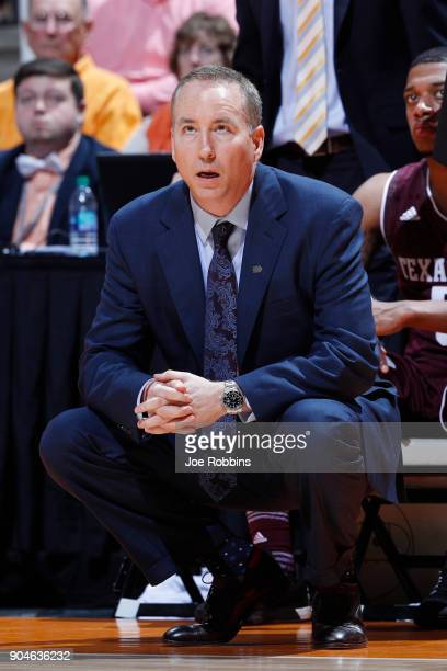 Head coach Billy Kennedy of the Texas AM Aggies looks on against the Tennessee Volunteers in the second half of a game at ThompsonBoling Arena on...