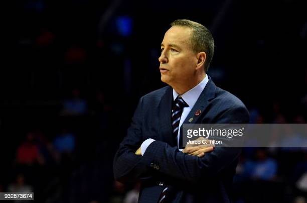 Head coach Billy Kennedy of the Texas AM Aggies looks on against the Providence Friars during the first round of the 2018 NCAA Men's Basketball...