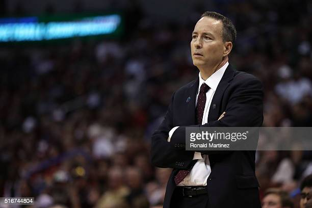 Head coach Billy Kennedy of the Texas AM Aggies looks on in the first half against the Northern Iowa Panthers during the second round of the 2016...