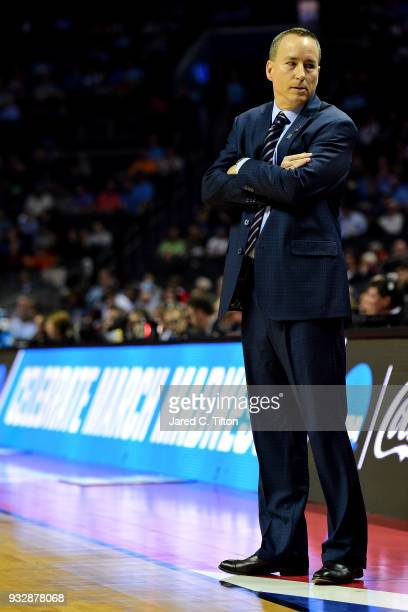 Head coach Billy Kennedy of the Texas AM Aggies looks to his bench against the Providence Friars during the first round of the 2018 NCAA Men's...