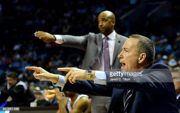 Head coach Billy Kennedy of the Texas AM Aggies motions to his team against the Providence Friars during the first round of the 2018 NCAA Men's...