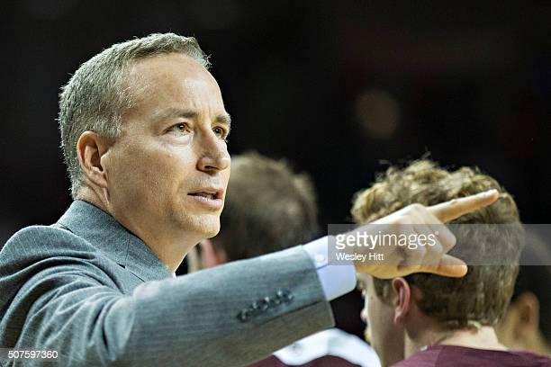 Head Coach Billy Kennedy of the Texas AM Aggies points to a referee during a game against the Arkansas Razorbacks at Bud Walton Arena on January 27...
