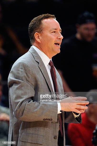 Head coach Billy Kennedy of the Texas AM Aggies reacts during a game against the Mississippi State Bulldogs during the 2K Sports Classic Benefiting...
