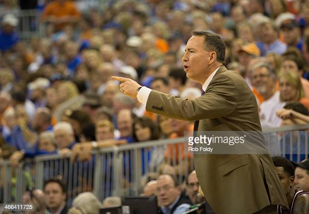 Head coach Billy Kennedy of the Texas AM Aggies reacts during the first half of play against the Florida Gators at the Stephen C O'Connell Center on...