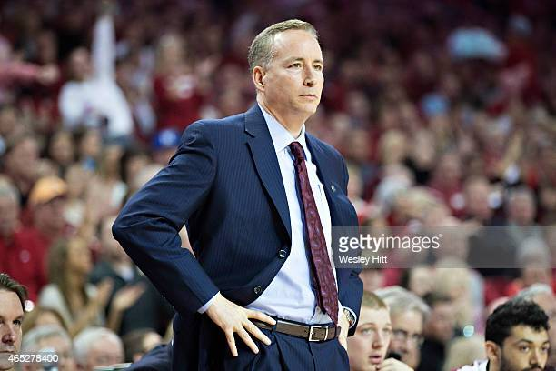 Head Coach Billy Kennedy of the Texas AM Aggies watches his team during a game against the Arkansas Razorbacks at Bud Walton Arena on February 24...