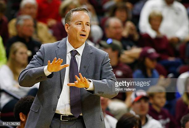 Head coach Billy Kennedy of the Texas AM Aggies watches the action on the court during their game against the Mississippi State Bulldogs at Reed...