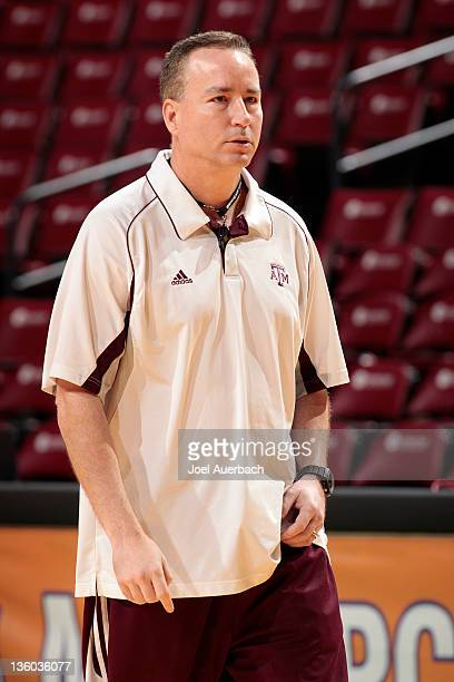 Head coach Billy Kennedy of the Texas AM Aggies watches the team during a morning warm up prior to the game against the Florida Gators at the Orange...