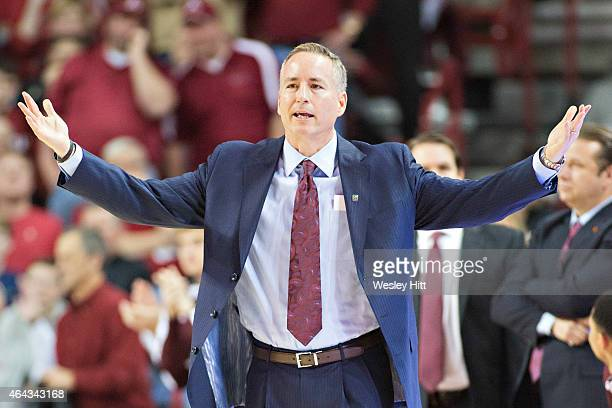 Head Coach Billy Kennedy of the Texas AM Aggies yells at his team during a game against the Arkansas Razorbacks at Bud Walton Arena on February 24...