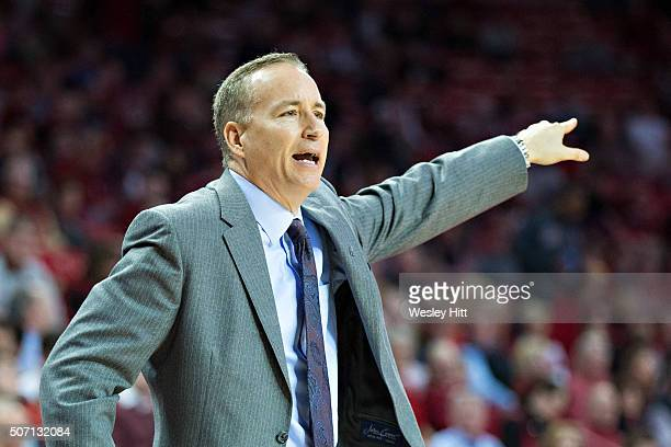 Head coach Billy Kennedy of the Texas AM Aggies yells to his team during the first half of a game against the Arkansas Razorbacks at Bud Walton Arena...