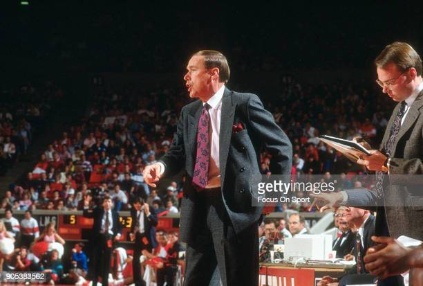 Head coach Billy Tubbs of the Oklahoma Sooners looks on during an NCAA College basketball game circa 1991 Tubbs coached at Oklahoma from 198094