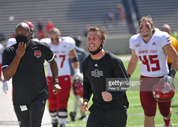 Head coach Blake Anderson of the Arkansas State Red Wolves reacts after defeating the Kansas State Wildcats at Bill Snyder Family Football Stadium on...
