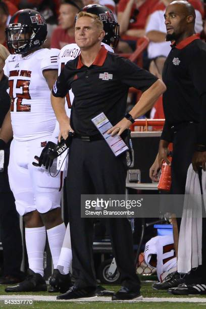 Head coach Blake Anderson of the Arkansas State Red Wolves watches action against the Nebraska Cornhuskers at Memorial Stadium on September 2 2017 in...