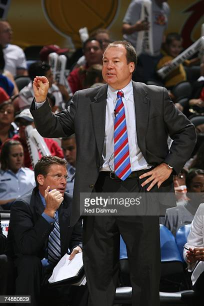 Head Coach Bo Overton of the Chicago Sky gestures during the WNBA game against the San Antonio Silver Stars on June 9 2007 at the ATT Center in San...