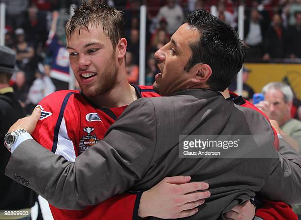 Head Coach Bob Boughner and Taylor Hall of the Windsor Spitfires congratulate each other after winning the Robertson Cup in the 4th game of the OHL...