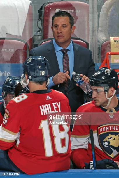 Head coach Bob Boughner of the Florida Panthers looks on during a time out against the Vegas Golden Knights at the BBT Center on January 19 2018 in...