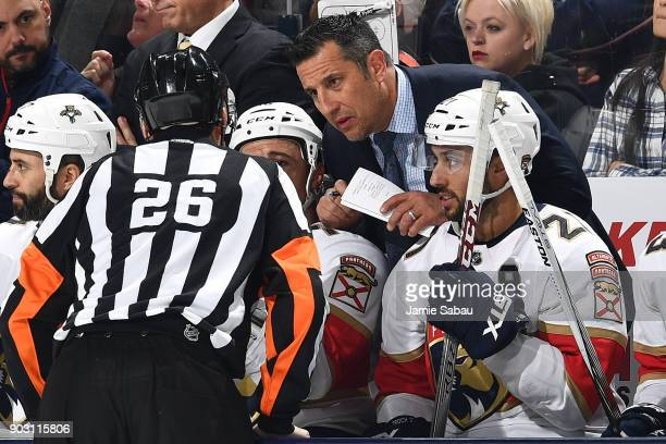 Head Coach Bob Boughner of the Florida Panthers talks with a referee during a game against the Columbus Blue Jackets on January 7 2018 at Nationwide...