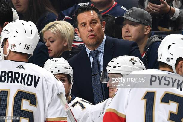 Head Coach Bob Boughner of the Florida Panthers talks with his team during a game against the Columbus Blue Jackets on January 7 2018 at Nationwide...